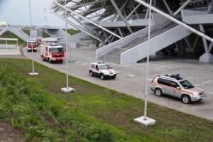 Для обеспечения безопасности подразделения Главного управления МЧС России по Самарской области организованной колонной прибыли на территорию стадиона.