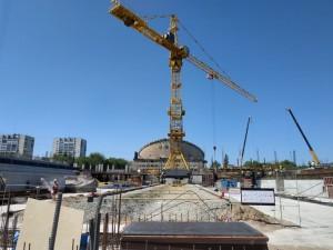 На стройплощадке Дворца спорта в Самаре работа ведется в активном темпе