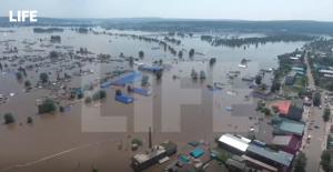 Масштаб наводнения в Иркутской области сняли с коптера