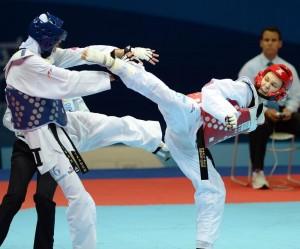 В соревнованиях по тхэквондо весовой категории до 62 кг.