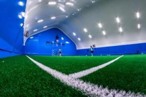 Новое футбольное поле и крытый манеж.