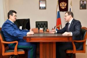 Губернатор Дмитрий Азаров и заместитель генерального прокурора РФ Сергей Зайцев провели рабочую встречу