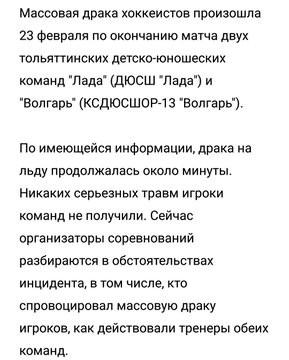 Министерство спорта Самарской области прокомментировало драку с участием детских хоккейных команд в Тольятти