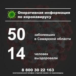 В Самарской области за сутки выявили еще 10 заболевших коронавирусом Всего их в области 50 человек.
