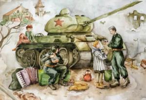 Как видят дети войну и победу изображено на альбомных листах и на больших ватманах.