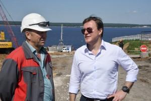 Губернатор оценил ход строительства Волжского моста.