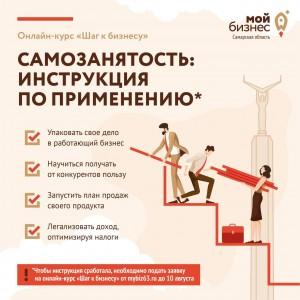 В Самарском регионе в августе стартует бесплатный обучающий курс для самозанятых «Шаг к бизнесу»