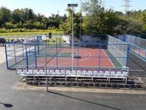 Три современные спортплощадки для уличного баскетбола 3х3 построены около спорткомплекса «Акробат» в рамках реализации федерального проекта «Спорт – норма жизни».