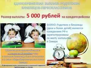Право на получение единовременной выплаты имеет один из родителей близнецов (двух и более детей). Размер выплаты составляет 5 000 рублей на каждого ребенка.