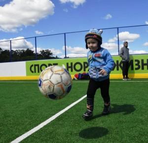 Спортивная площадка размером 56 на 28 метров с искусственным газоном и хоккейными бортами может использоваться круглогодично.