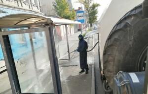 14 октября специалистами РХБЗ с помощью мобильного комплекса санитарной обработки проведено обеззараживание 43 остановочных пунктов г. Самары.