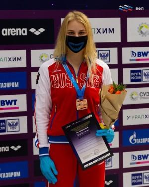 На дистанции 200 метров баттерфляем тольяттинская спортсменка Софья Чичайкина завоевала бронзу.