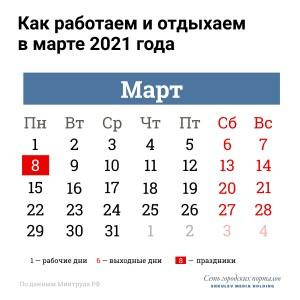 В Роструде рассказали о праздничных днях в марте 2021 года