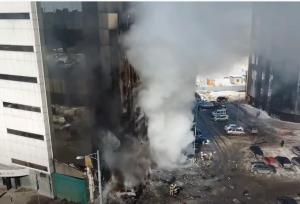 Пожар в офисном центре Скала в Самаре сняли с высоты
