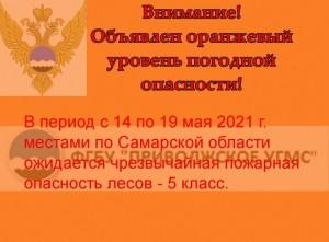 В Самарской области объявили оранжевый уровень пожароопасности лесов