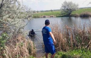 Компания молодых людей пересекала протоку реки.