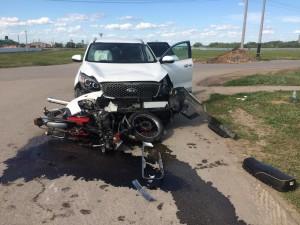 В Красноярском районе иномарка сбила мотоциклиста