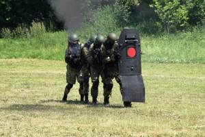 Были здесь и показательные выступления с элементами рукопашного боя и тактической подготовки, выставка оружия, спецсредств, защитной амуниции.