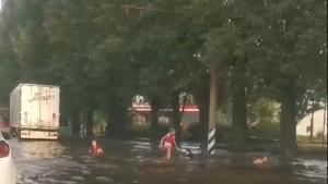 В Тольятти дети устроили заплыв в грязной луже после ливня