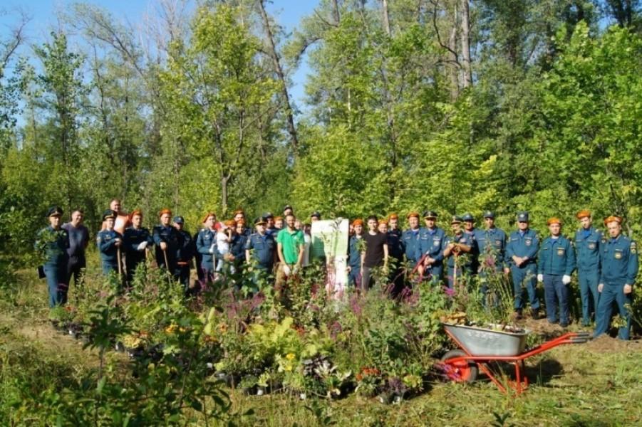 В поселке Сухая Самарка сотрудники МЧС приняли участие в экологическом субботнике