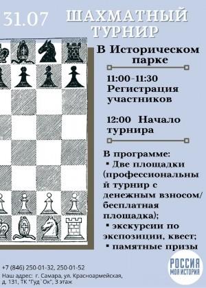 В самарском Историческом парке впервые пройдет открытый шахматный турнир