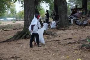Дождливая погода не помешала сегодня участникам экологической акции провести генеральную уборку прибрежной зоны острова Поджабный.