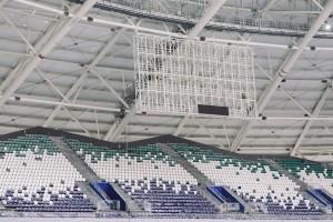 На стадионе «Самара Арена» начался монтаж экранов, на которых болельщики будут просматривать повторы матчей
