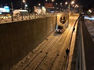 По новой трамвайной линии от ул. Ташкентской до стадиона