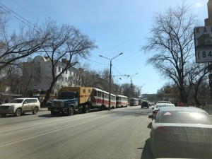 В Самаре на ул. Полевой из-за аварии встали трамваи